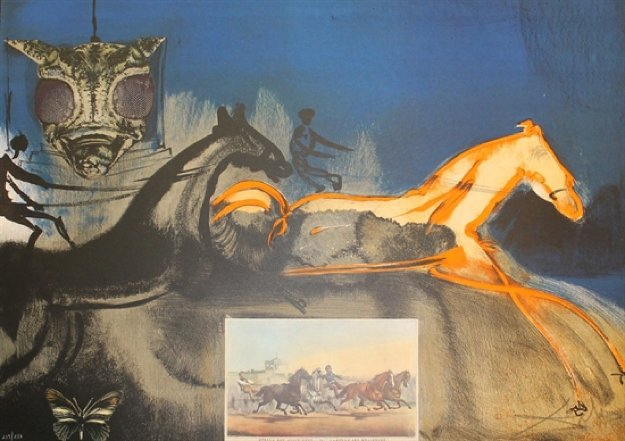 American Trotting Horses No. 2  (Currier And Ives) 1971 Limited Edition Print by Salvador Dali