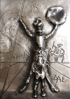 Don Quichotte Bas Relief Platinum Sculpture 1980 Sculpture - Salvador Dali