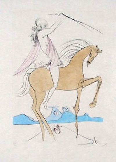Amazone and Cavalier a La Rose 1973, Set of 2 Limited Edition Print by Salvador Dali