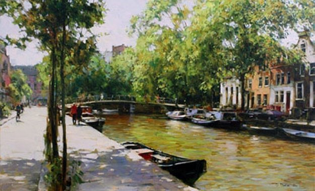 Amsterdam in September 2009 38x55 Original Painting by Dmitri Danish