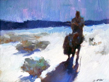 Untitled Moonlight Traveler 1983 20x24 Original Painting - Dan McCaw
