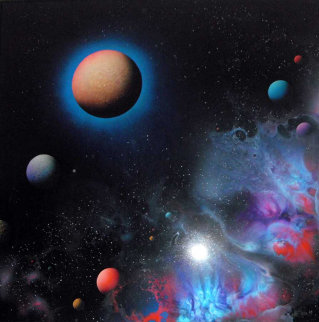 Northern Lights 1984 36x36 Huge Original Painting - Dave Archer