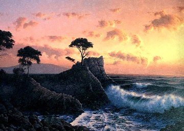 Lone Cypress At Sunset 1984 31x41 Huge Original Painting - David Dalton