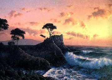 Lone Cypress At Sunset 1984 31x41 Original Painting by David Dalton