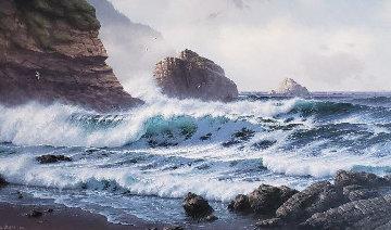 Untitled Seacape 1983 33x57 Original Painting - David Dalton