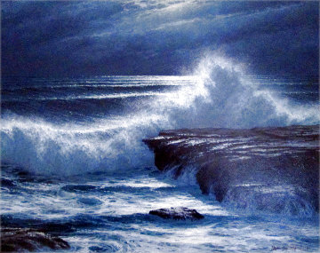Moonlight and Surf 1980 23x27 Original Painting - David Dalton
