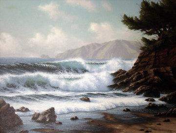 Incoming Tide, Near Monterey, California 1981 31x37 Original Painting by David Dalton