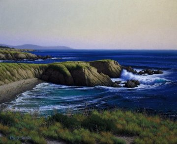 <br />Cliffs Near Piedras Blancas Point 2010 24x20 San Diego Original Painting - David Dalton