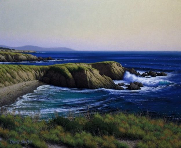 <br />Cliffs Near Piedras Blancas Point 2010 24x20 San Diego Original Painting by David Dalton