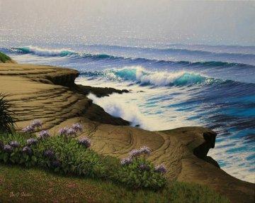 Lifting Fog - La Jolla Cliffs 24x30 San Diego Original Painting by David Dalton