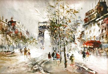 Untitled Painting (Parisian Street Scene 1960 15x19 Original Painting - Randall Davey