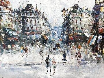 Untitled European Cityscape 25x30 Original Painting - Randall Davey