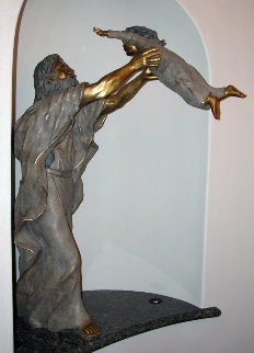 Except Ye Become As - Christ And Child Life Size Bronze Sculpture 2002 77 in Sculpture by David  Anderson