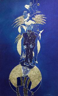Danse Avec La Lune 2019 39x25 Huge  Original Painting - David Farsi
