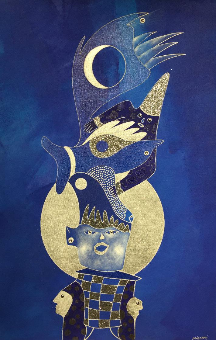 L Oiseau Et La Lune 2019 39x25 Original Painting by David Farsi