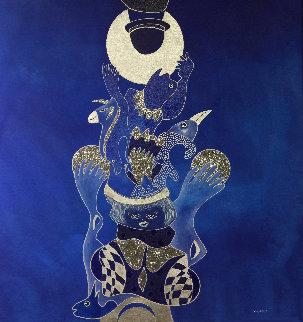 Voyage Avec La Lune 2019 39x39 Huge Original Painting - David Farsi