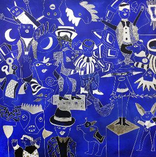 Composition Bleu Argent 2019 90x90 Huge Original Painting - David Farsi