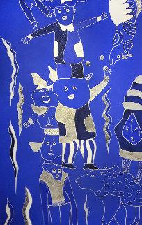 Composition Bleu Argent 2 2019 39x90 Huge Original Painting - David Farsi