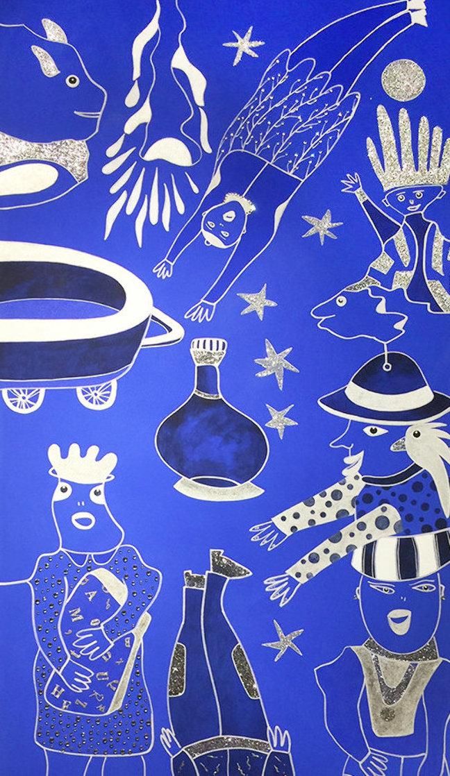 Composition Bleu Argent 3 2019 39x90 Super Huge Original Painting by David Farsi