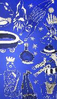 Composition Bleu Argent 3 2019 39x90 Super Huge Original Painting by David Farsi - 0