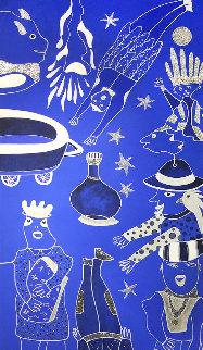 Composition Bleu Argent 3 2019 39x90 Huge Original Painting - David Farsi