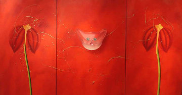 Concerto Pour Un Chat Touge Triptych 2004 63x121 Mural Original Painting - David Farsi