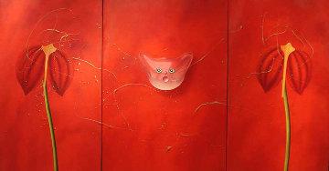 Concerto Pour Un Chat Touge Triptych 2004 63x121 Mural Huge Original Painting - David Farsi