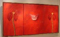 Concerto Pour Un Chat Touge Triptych 2004 63x121 Mural Super Huge Original Painting by David Farsi - 1