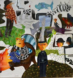 Vue a La Television (TV) 2012 70x66 Original Painting by David Farsi