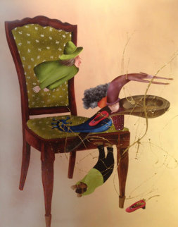 Histoire De Chaise 2014 59x44 Original Painting - David Farsi