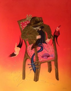 Histoire De Chaise I  2014 59x44 Super Huge Original Painting - David Farsi