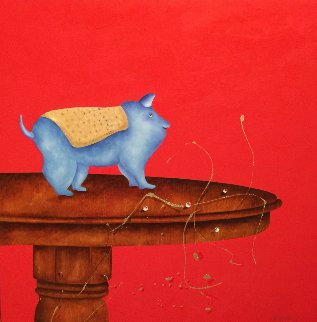 Petit Loup 2016 38x38 Original Painting by David Farsi