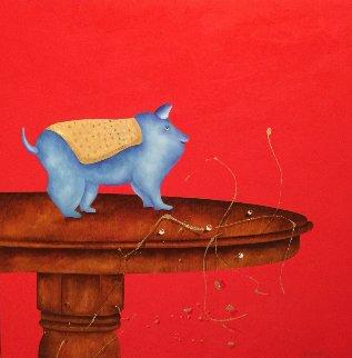 Petit Loup 2016 38x38 Original Painting - David Farsi