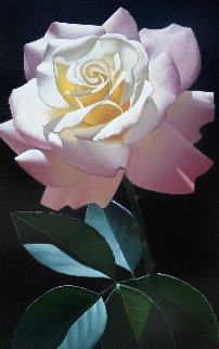 Long Stem Pink and White Rose 1999 40x22 Original Painting by Brian Davis
