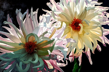Dahlias 2008 36x48 Super Huge  Original Painting - Brian Davis