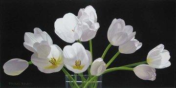 Twelve Tulips 2009 20x40 Original Painting by Brian Davis