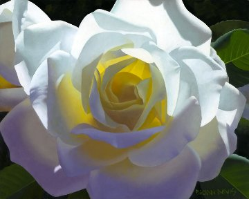 Moonlight Dance Rose Solitaire 16x20 Original Painting by Brian Davis