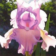 Solo Mauve Iris 24x24 Original Painting by Brian Davis - 0
