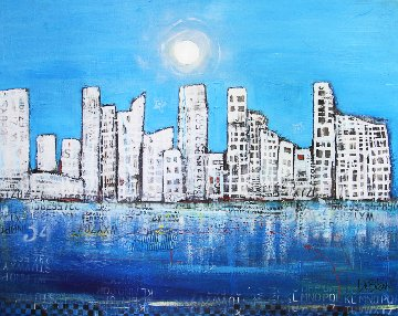 Untitled Skyline 2017 52x64 Original Painting - William DeBilzan