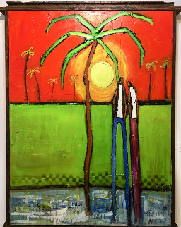 Sunset on the Island 2019 51x40 Original Painting - William DeBilzan