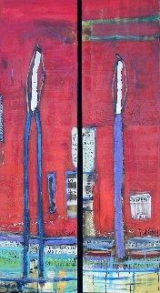 Untitled Painting (Diptych) 90x24 Super Huge Original Painting - William DeBilzan