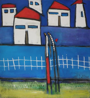 Blue Moment 2003 36x36 Original Painting - William DeBilzan