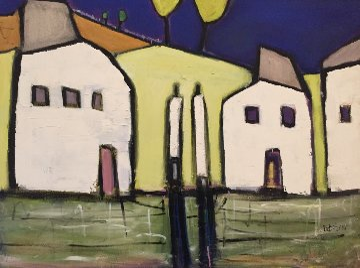 Suburban Speculation 2001 36x48 Original Painting - William DeBilzan