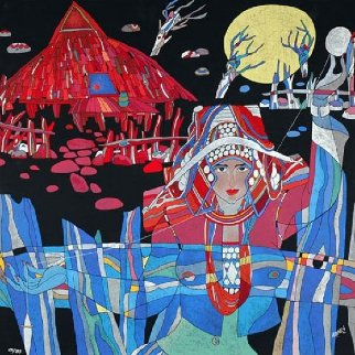 Lady With Thread And Mountain Spirit Suite of 2 Serigraphs 1989 Limited Edition Print by He Deguang