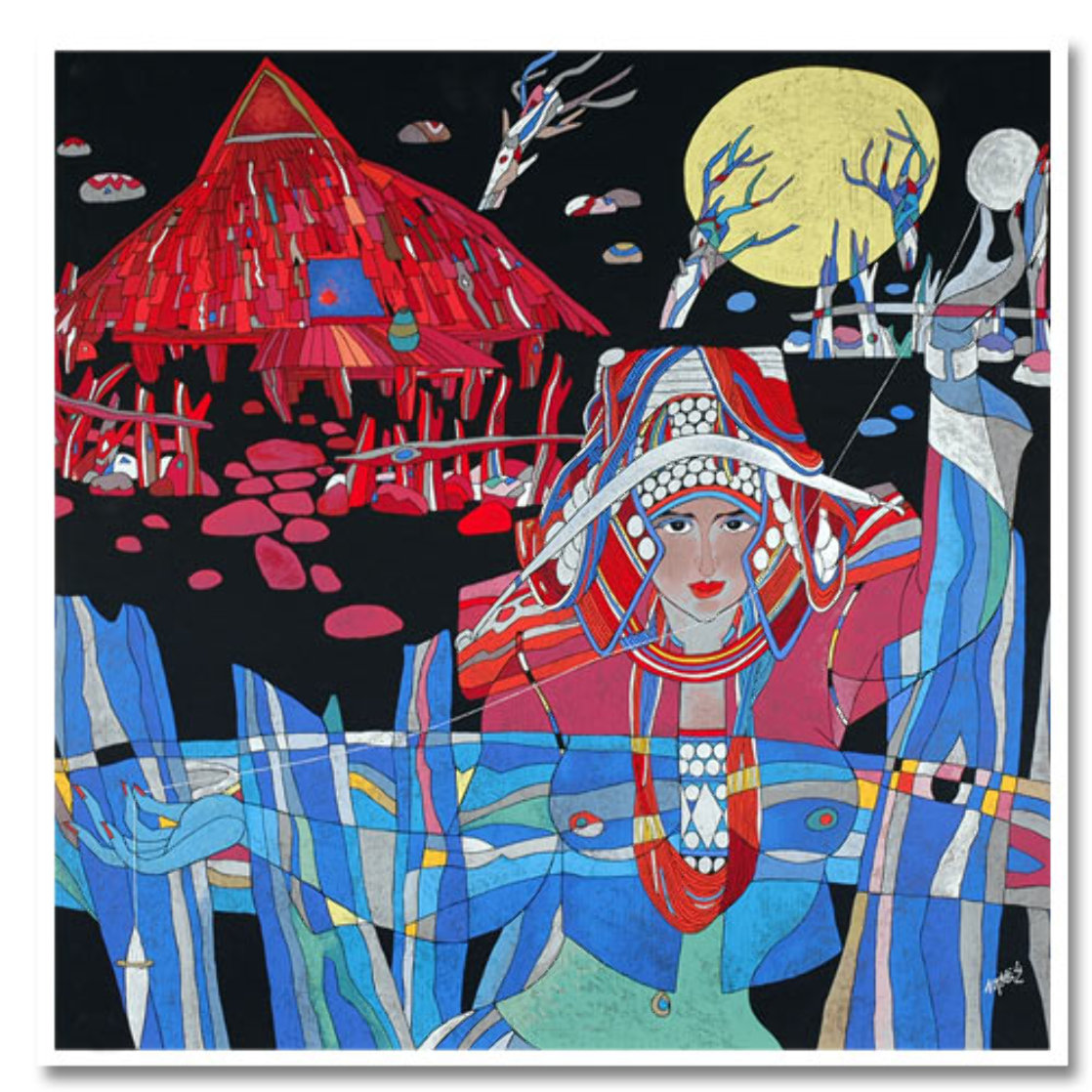 Lady With Thread 1989 38x37 Huge  Limited Edition Print by He Deguang