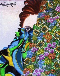 Behind Flowers 24x18 Original Painting by Eric De Kolb