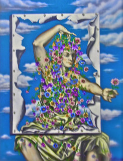 Lady of the Sky with Flowers 25x18 Original Painting - Eric De Kolb