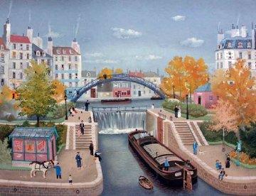 Le Canal St. Martin En Autonne 1990 Limited Edition Print - Michel Delacroix