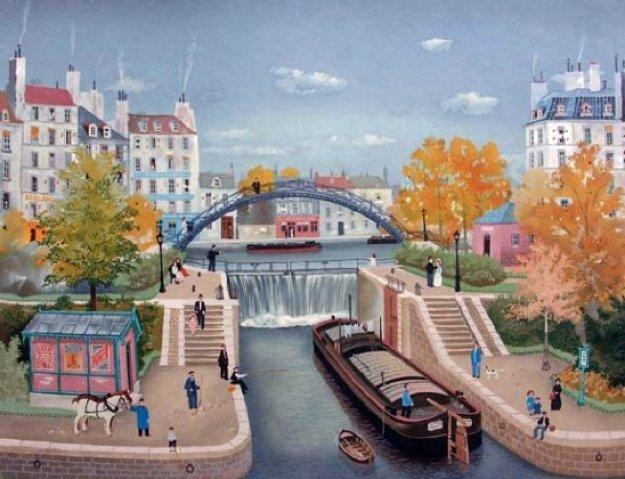 Le Canal St. Martin En Autonne 1990 Limited Edition Print by Michel Delacroix