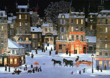 Soir De Neige, Rue Des Rosiers (Snowy Night, Rue Des Rosiers) 1999 Limited Edition Print - Michel Delacroix